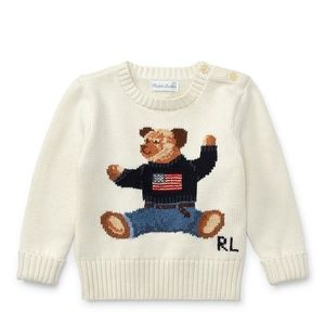 BABY BOY Polo Bear Cotton Sweater & Belted Pants